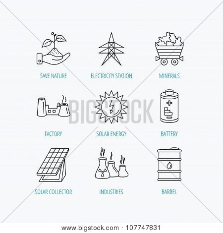 Solar collector energy, battery and oil barrel.