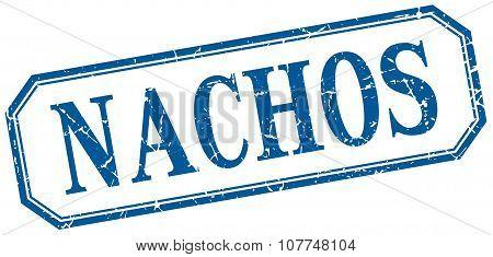 Nachos Square Blue Grunge Vintage Isolated Label