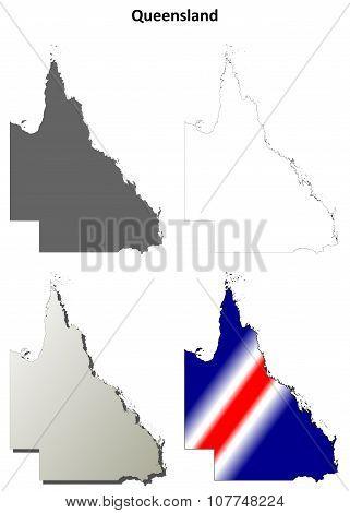 Queensland blank detailed outline map set