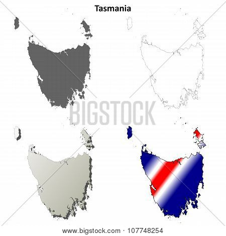 Tasmania blank detailed outline map set