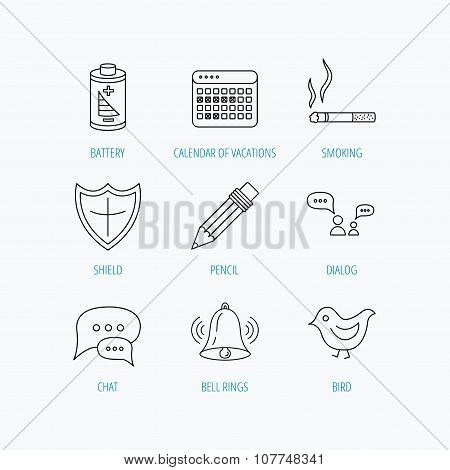 Battery, pencil and protection shield icons.