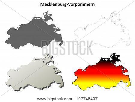 Mecklenburg-Vorpommern outline map set
