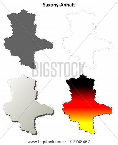 Saxony-Anhalt blank outline map set