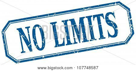 No Limits Square Blue Grunge Vintage Isolated Label