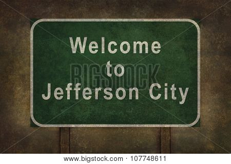 Welcome To Jefferson City Roadside Sign Illustration