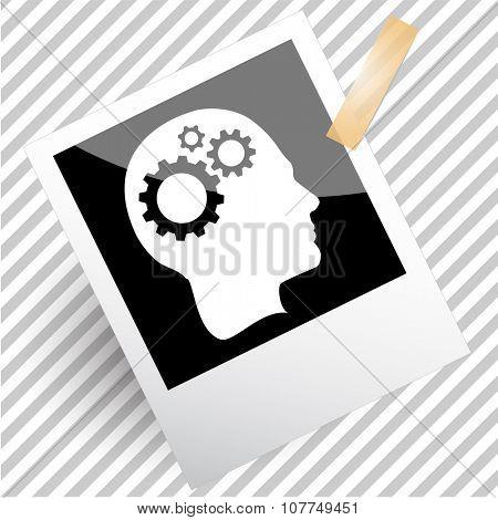 human brain. Photoframe. Raster icon.