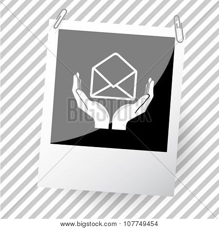 open mail with hands. Photoframe. Raster icon.