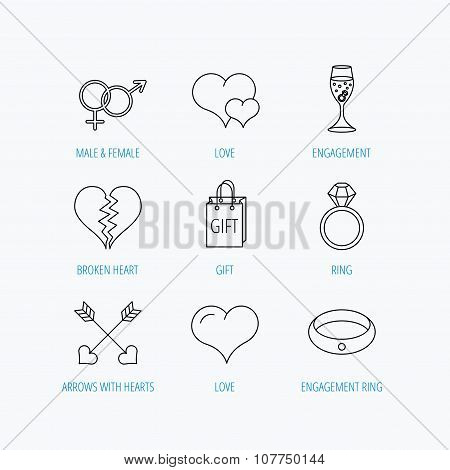 Love heart, gift box and wedding ring icons.