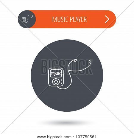 Music player icon. Songs portable device sign.
