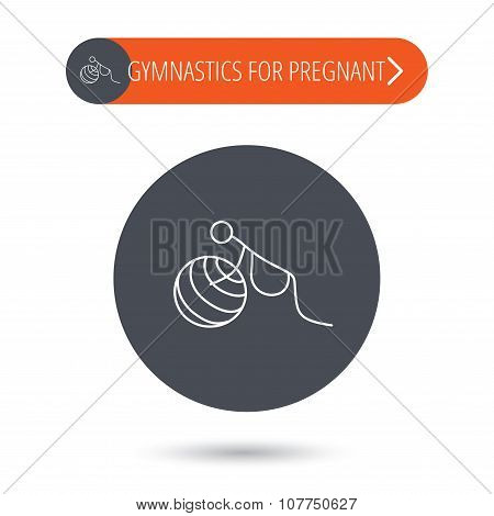 Gymnastic for pregnant icon. Pilates fitness.