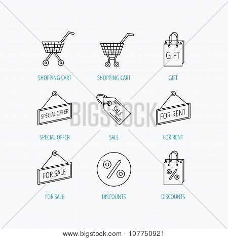 Shopping cart, gift bag and sale coupon icons.