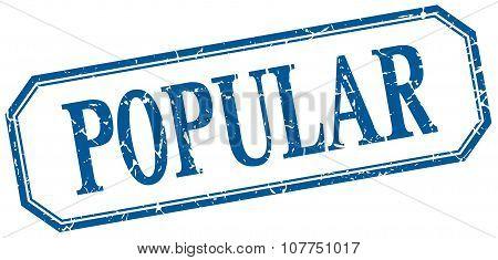 Popular Square Blue Grunge Vintage Isolated Label