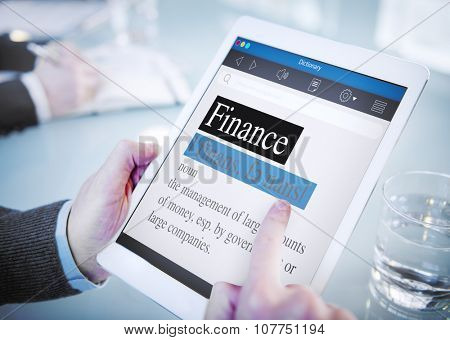 Finance Meaning Dictionary Digital Tablet Office Browsing Concept