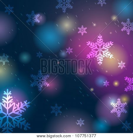 Bright Blue Background With Bokeh And Snowflakes, Vector