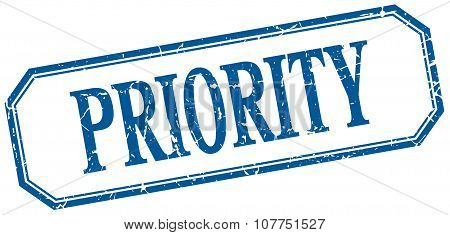Priority Square Blue Grunge Vintage Isolated Label