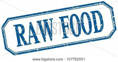 Raw Food Square Blue Grunge Vintage Isolated Label