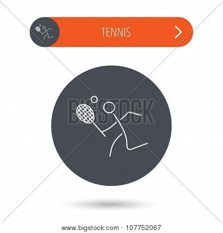 Tennis icon. Racket with ball sign.