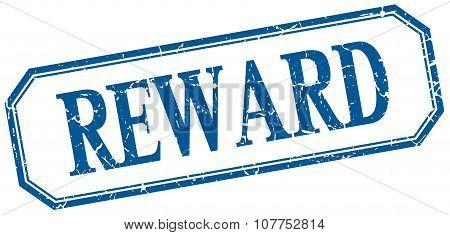 Reward Square Blue Grunge Vintage Isolated Label