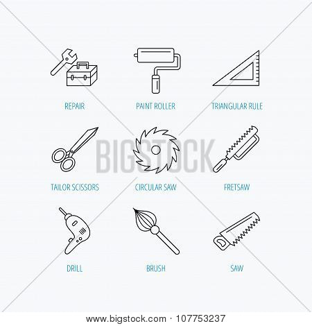 Scissors, paint roller and repair tools icons.