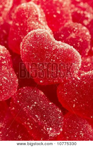 Red Fruit Candy In The Form Of The Heart