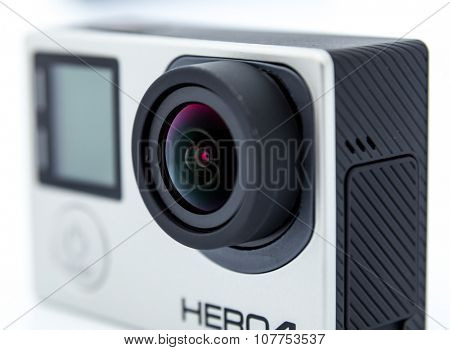 Moscow, Russia - June 27, 2015: GoPro Hero 4 Black. It is a compact, lightweight personal camera manufactured by GoPro Inc. The camera is often used in extreme action video photography.