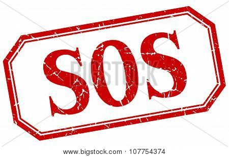Sos Square Red Grunge Vintage Isolated Label