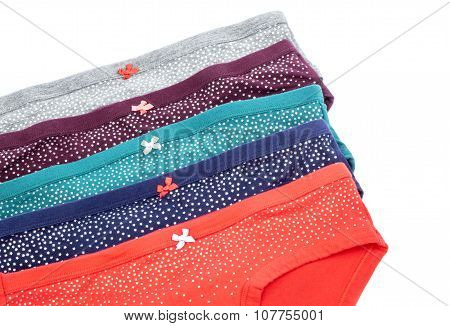 Women's Colorful Cotton Panties with Bows and Silver Stars