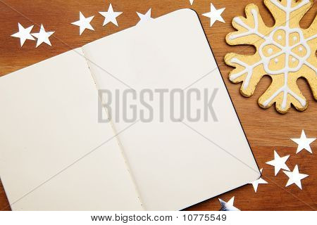 Blank Notebook With Snowflake