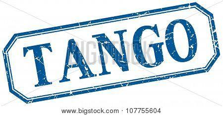 Tango Square Blue Grunge Vintage Isolated Label