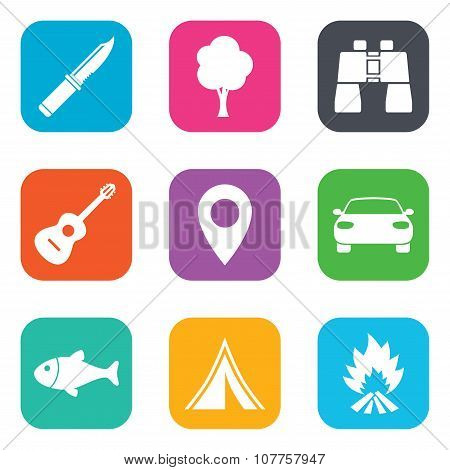 Camping, tourism icons. Fishing, guitar music.