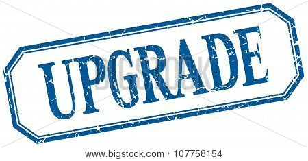 Upgrade Square Blue Grunge Vintage Isolated Label