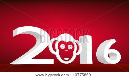 monkey icon in 2016 new year number