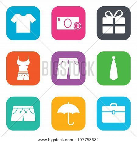Clothing, accessories icons. Shopping signs.
