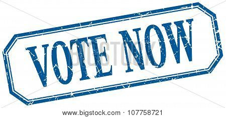 Vote Now Square Blue Grunge Vintage Isolated Label
