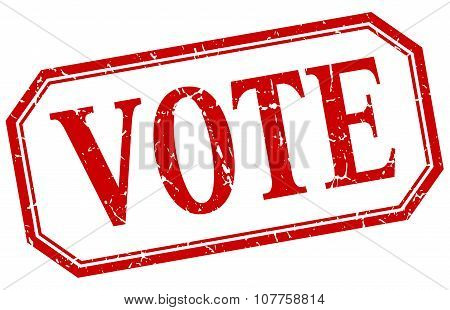 Vote Square Red Grunge Vintage Isolated Label