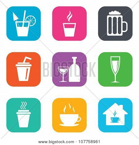 Tea, coffee and beer icons. Alcohol drinks.