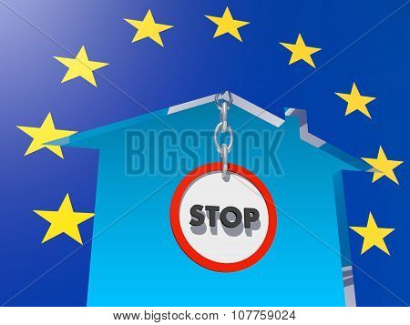road stop sign in home icon textured by europe flag