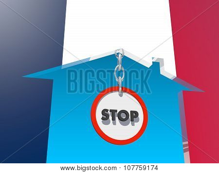 road stop sign in home icon textured by france flag