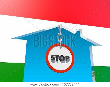 road stop sign in home icon textured by hungary flag