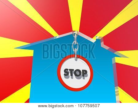 road stop sign in home icon textured by macedonia flag