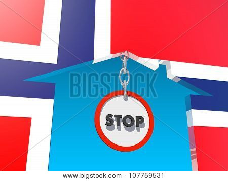 road stop sign in home icon textured by norway flag