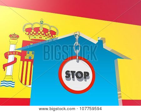 road stop sign in home icon textured by spain flag