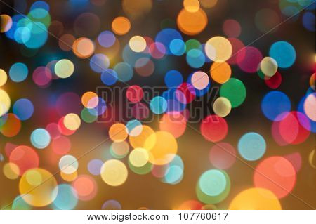 Abstract Circular Bokeh Background Of Christmas Lights..
