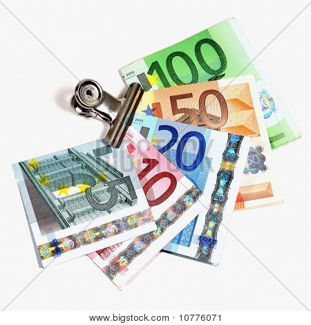 Euro Banknotes in a paper clip