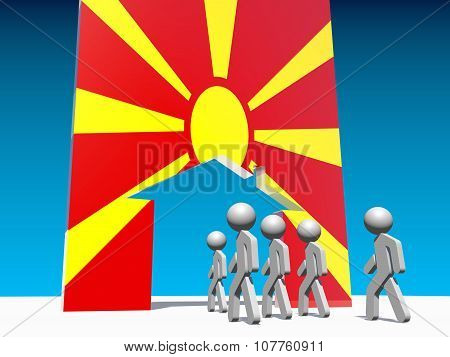 Humans go to home icon textured by macedonia flag