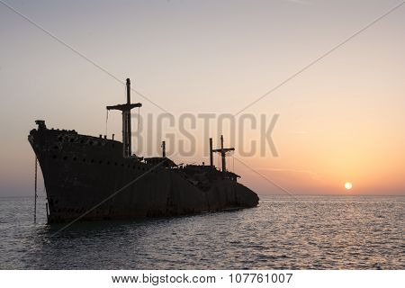 The Greek Ship Wreckage In Kish Island At Sunset