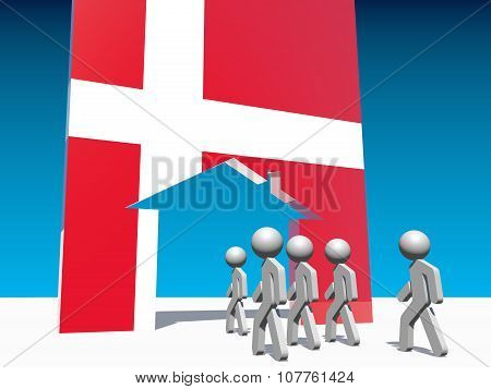 refugees go to home icon textured by denmark flag