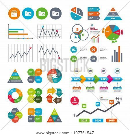 Accounting binders icons. Add document symbol.