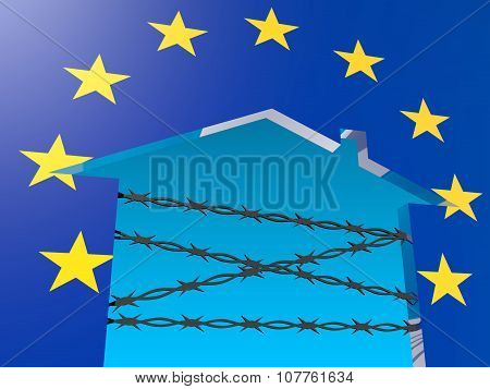 barbed wire closed home icon textured by europe flag