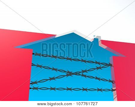 barbed wire closed home icon textured by poland flag
